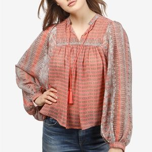 NWT! Lucky Brand Printed Peasant Top Pink Multi